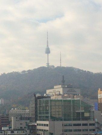 Hotel PJ Myeongdong: pj酒店阳台可以看到首尔塔