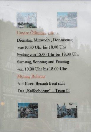 Kaffeebohne: operation hours