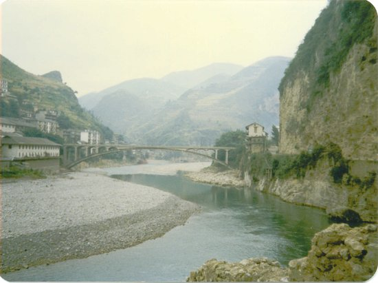 Wuxi County, China: Wuxi River Hubei Prov where our raft started in Aug 1989