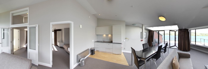 Panorama of the 2 Bedroom Loft at the Oaks Shores
