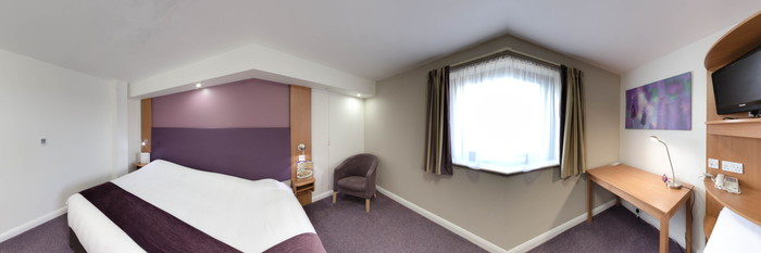 Panorama of the Accessible Room at the Premier Inn Manchester Airport (M56/J6) Runger Lane North