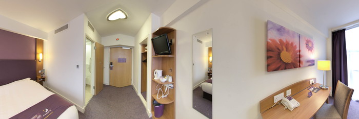 Panorama of the Accessible Room at the Premier Inn London Kensington