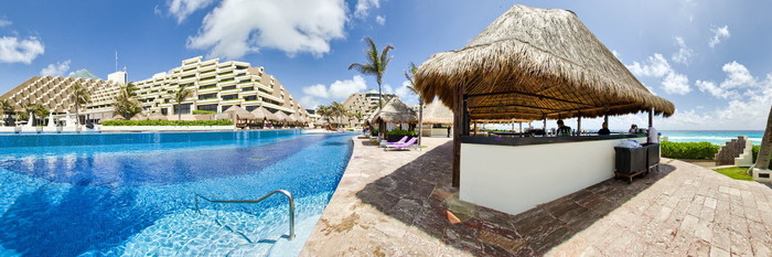 Panorama of the Adult pool at the Paradisus Cancun
