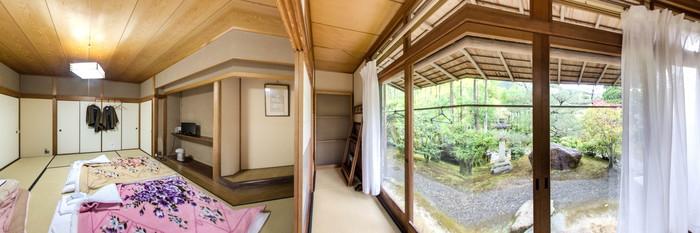 Panorama of the Annex Room with Shared Bathroom (Garden View) at the Ryokan Yamazaki