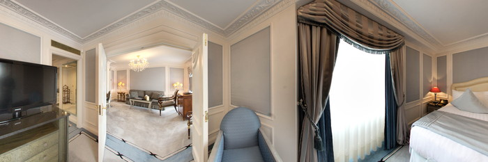 Panorama of the Ashburn Suite at The Bentley London