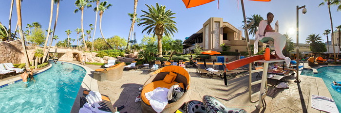 Panorama of the Backlot River Pool at the MGM Grand Hotel & Casino