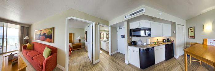 Panorama of the Beachfront One-Bedroom Suite at the DiamondHead Beach Resort & Spa