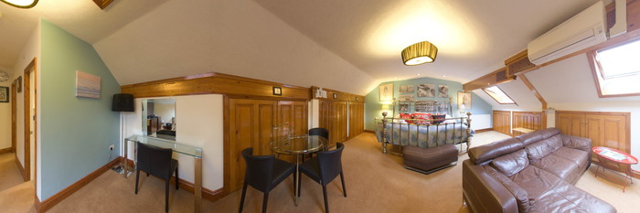 Panorama of the Bootham Loft Suite at The Groves