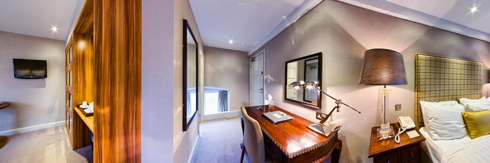 Panorama of the Deluxe Double Room at The Castle Hotel