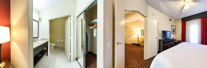 Panorama of the Deluxe King Suite with Kitchen and Fireplace at the Hampton Inn & Suites Denver Tech Center