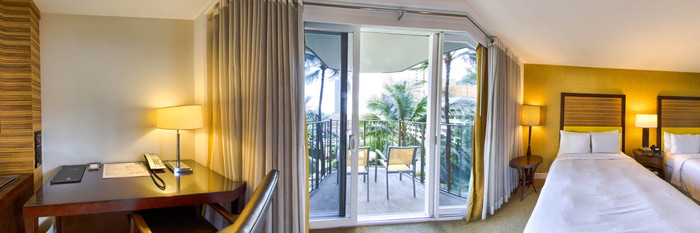 Panorama of the Deluxe Mountain View Room at the Hilton Waikiki Beach
