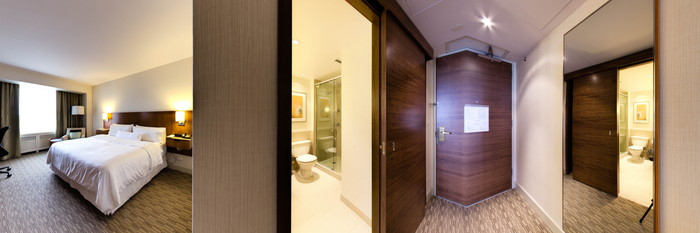 Panorama of the Deluxe Room at The Westin Calgary