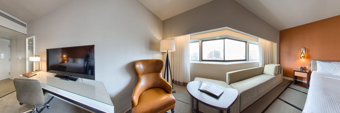 Panorama of the Deluxe Room at the ONE UN New York
