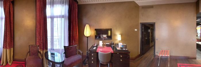 Panorama of the Deluxe Room at the Buddha-Bar Hotel Paris