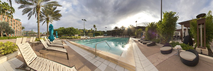 Panorama of the Dolphin Lap Pool at the Walt Disney World Dolphin Resort