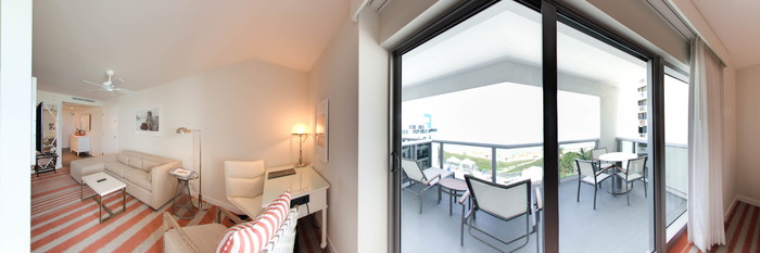 Panorama of the Double Queen Junior Suite with Oceanfront Balcony at the Hilton Cabana Miami Beach
