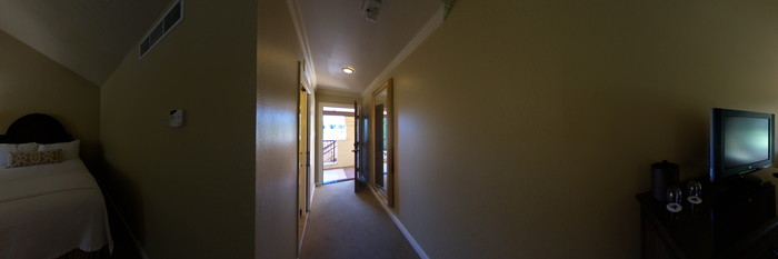 Panorama of the Double Queen Room with Balcony at the Napa Valley Lodge