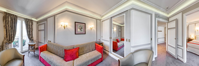 Panorama of the Eiffel Tower Suite at the Hotel Regina Louvre