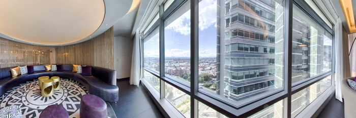 Panorama of the Extreme Wow Suite Room at the W Bogota Hotel
