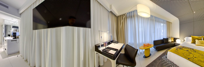 Panorama of the Fabulous Suite Room at the W Bogota Hotel