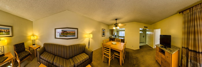 Panorama of the First Floor Condo with Twin Beds at the Vista Mirage