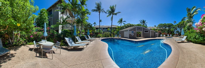 Panorama of the Garden Pool at the Wailea Grand Champions Villas