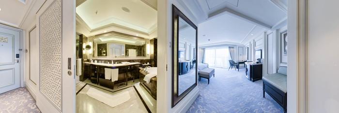 Panorama of the Grand Premier Bosphorus Room at the Shangri-La Bosphorus, Istanbul