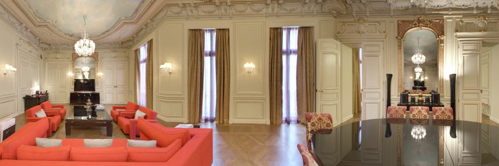 Panorama of the Grande Suite Historique at the Buddha-Bar Hotel Paris