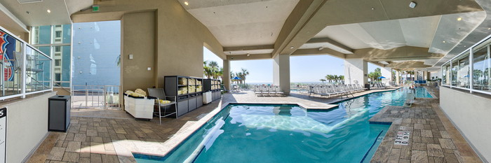 Panorama of the Indoor Pool at the Ocean 22 by Hilton Grand Vacations