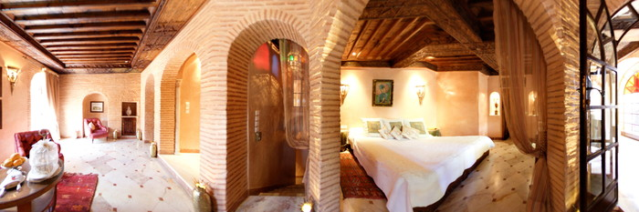 Panorama of the Jaguar Luxury Suite at the La Sultana Marrakech