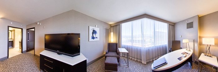 Panorama of the Junior King Suite at the Hilton Woodland Hills/Los Angeles