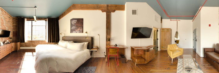 Panorama of the King Loft Suite at the Old No. 77 Hotel & Chandlery