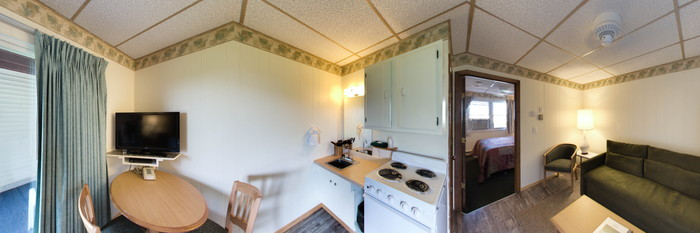 Panorama of the King Room with Kitchenette at the Friendship Oceanfront Suites