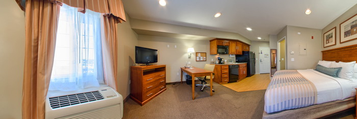 Panorama of the King Studio at the Candlewood Suites Lax Hawthorne