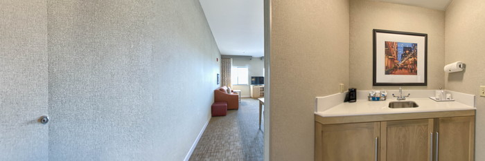 Panorama of the King Studio Suite at the Hampton Inn & Suites Denver-Speer Boulevard