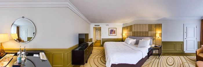 Panorama of the Large Guest Room at the Paris Marriott Champs Elysees Hotel