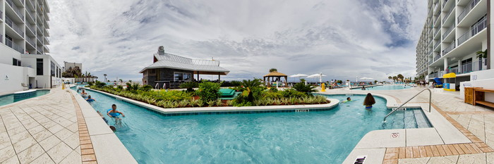 Panorama of the Lazy River at the Holiday Inn Express & Suites Panama City Beach-Beachfront