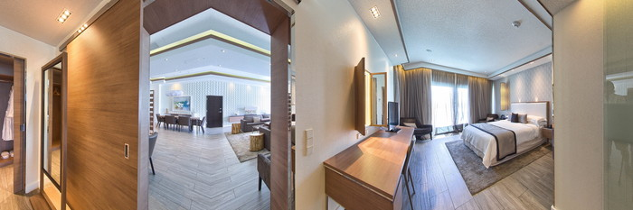Panorama of the Lazy River Suite at the Hilton At Resorts World Bimini