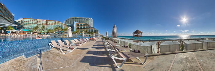 Panorama of the Main Pool at the Hard Rock Hotel Cancun