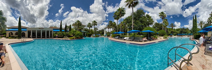 Panorama of the Main Pool with Lazy River at the Omni Orlando Resort at Championsgate