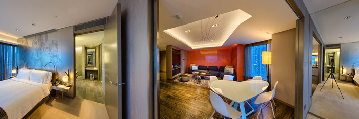 Panorama of the Marvelous Suite G+A at the W Hong Kong