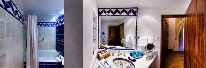 Panorama of the Master Interior with King Bed at the Quinta Real Oaxaca