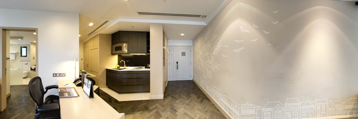 Panorama of the One Bedroom Apartment at the Fraser Suites Singapore