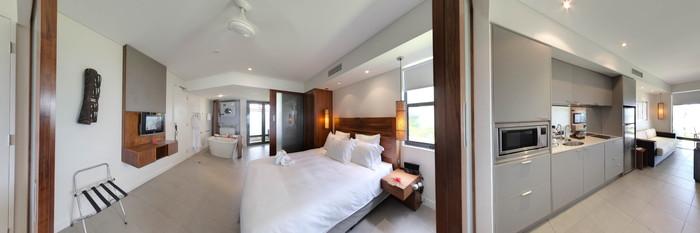 Panorama of the One Bedroom Beachfront at the Hilton Fiji Beach Resort & Spa