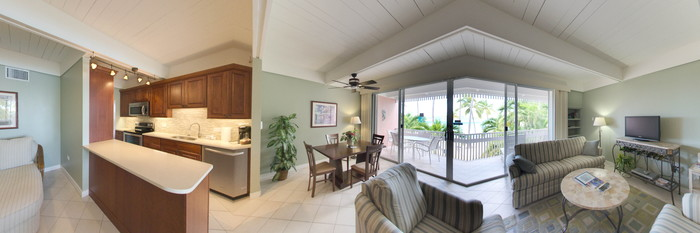 Panorama of the One-Bedroom Condo at the Secret Harbour Beach Resort
