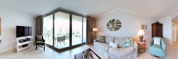 Panorama of the One Bedroom Condo at the Waterscape Condominiums