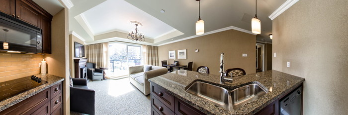 Panorama of the One Bedroom Residential View King Bed at the Oak Bay Beach Hotel