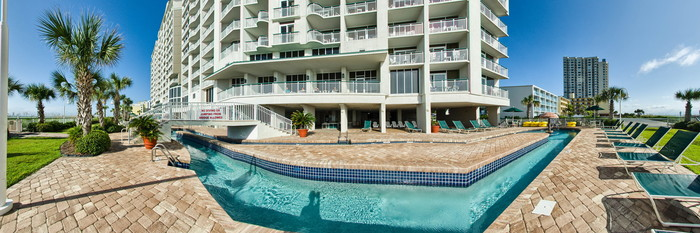 Panorama of the Outdoor Lazy River One at the Hampton Inn & Suites Myrtle Beach/Oceanfront