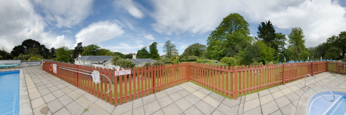 Panorama of the Outdoor Pool at the Lincombe Hall Hotel