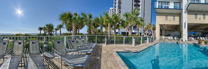Panorama of the Outdoor Pool at the Ocean 22 by Hilton Grand Vacations